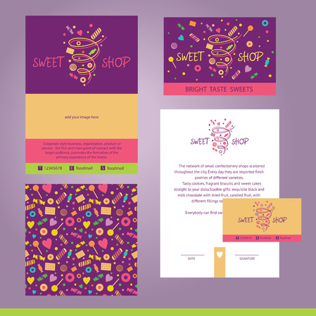pastries: Vector stationery template design for cafe, shop, confectionery. Documentation for business, logo design, corporate style. Sweet shop. Purpure, ping color. Design element.