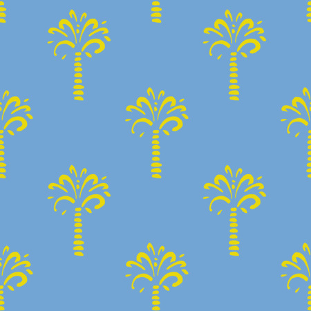 natura: seamless pattern with palm on blue background. Ornament for the summer fabric. Beach pattern.