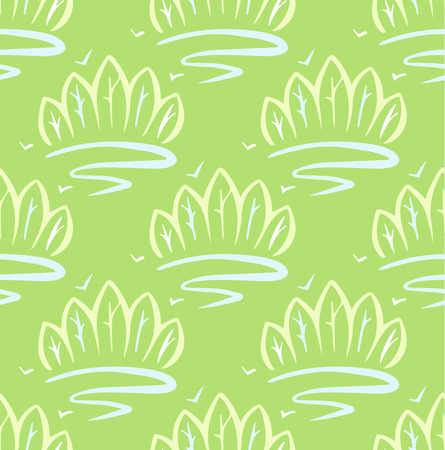 conservancy: Seamless background with the image of forests, rivers. Printed pattern for wallpaper, fabrics. Light green color, pattern paint with a brush.