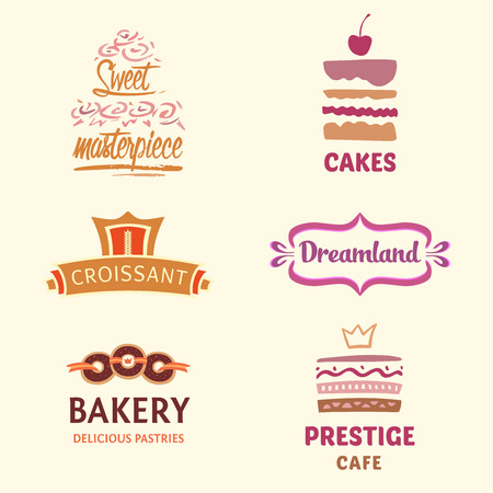 sweet: Set of pattern cakes. confectionery, coffee shop. Big cakes with fillings and wedding cakes. Bakery and croissant. Sweet masterpiece market.