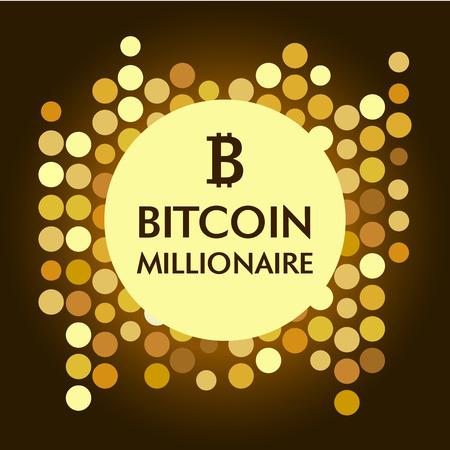 millonario: Bitkoinovy ??millonario. Fondo conceptual con la imagen de la señal de Bitcoin y monedas de oro. Imagen de diseño de la camisa de la ropa T