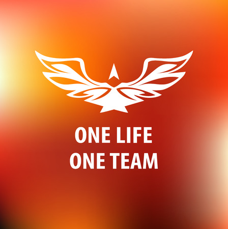 one team: Motto, slogan sports team. One life, one team. White silhouette of an eagle and text. background blur, a red design. Printing on T-shirt. Illustration