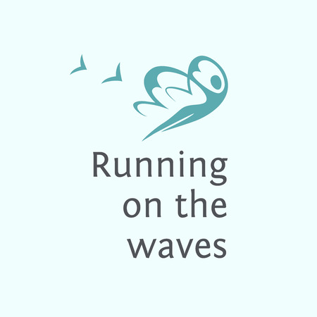 water wings: Print poster, T-shirt.   Elements for spa. Running on the waves. Illustration