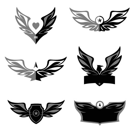 wings logos: Set of patterns vector logo depicting an eagle, a bird. Space for text in the logo. Spread wings, heraldic style.