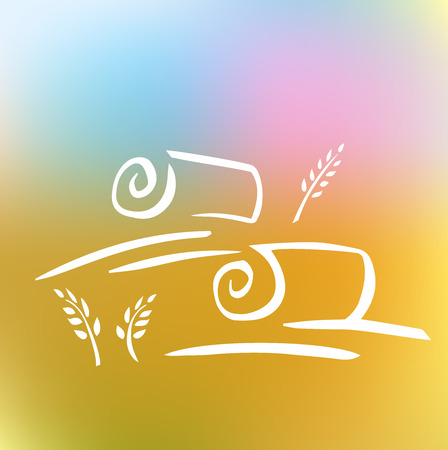 hay bale: Vector image with field and ears. Harvesting grain. White silhouette on a blurred background.