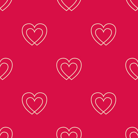 mutually: Seamless pattern with two hearts. Vector background red color. Illustration