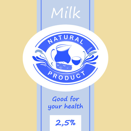 dairy products: Logo and labels for dairy products. Editable labels for packages. Dairy products. Yogurt, kefir, milk, fermented baked milk Illustration