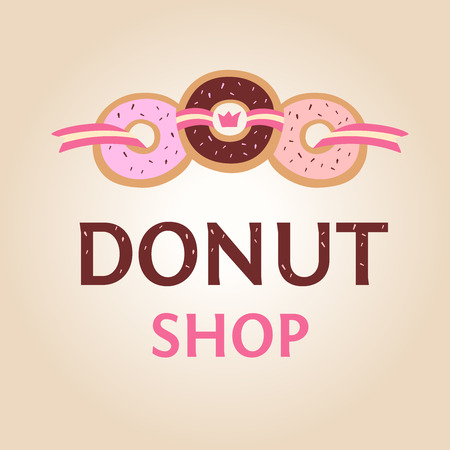 confectionery: Template logo for donut shop. Logo confectionery, coffee shop.