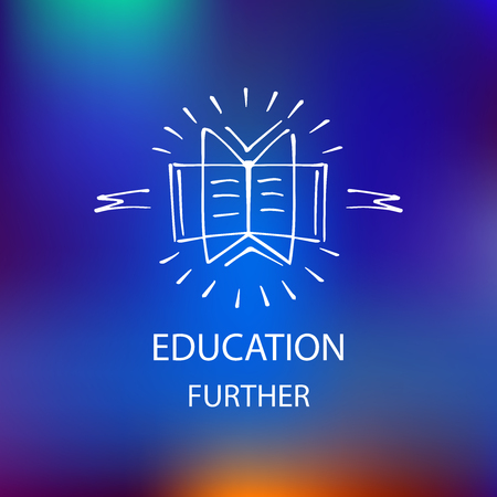 erudite: Logo library, bookstore, educational institution, educational services. Hand-drawn character books, notebooks, notes. The knowledge and time.