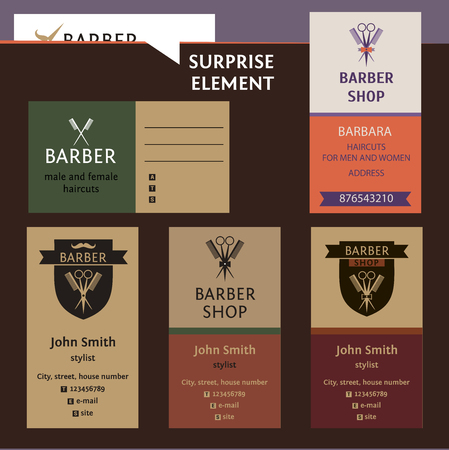 prestige: Set of logo for barber shop, style corporate salon for man and women. Business card and banner. Status and elegance