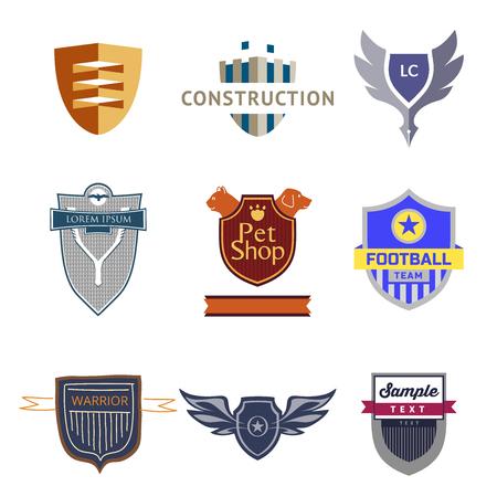 topics: Set logo templates with a shield. Heraldic style. Logos on various topics.