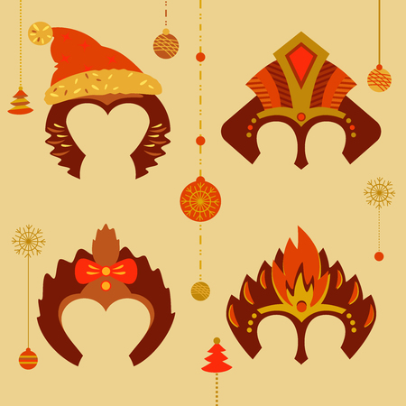 A set of masks to celebrate a happy new year 2016. Red monkey fiery decoration. Mask for Santa, children and adults. The mood for celebration.New Year decoration Illustration