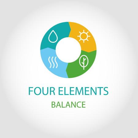 simbol: Logo quattro elementi naturali. Il bilancio energetico. L'equilibrio della natura. Vettoriali