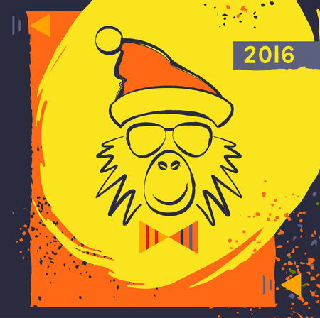 prankster: Hipster christmas red fire monkey. Hand drawn happy new year illustration chinese zodiac 2016. Vector card for the good winter mood. Young prankster party. Illustration