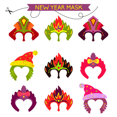 comedy mask: Gorgeus Set of colorful mask christmas monkey. Hand drawn mask for happy new year. Chinese zodiac 2016. Child party. Cut and play. Illustration