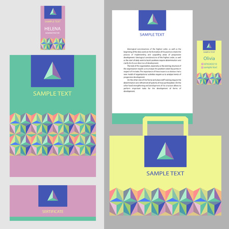 stationery items: Vector template logo and corporate identity. A set of stationery items with geometric mosaic pattern of triangles. Illustration