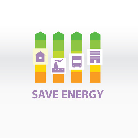 improving: Vector logo with symbols of plant, houses, transport, resources and energy. Saving energy resources. Improving energy efficiency. Green UP Arrow.