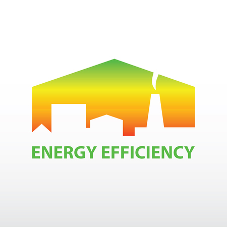 Vector logo with symbols of plant, houses, resources and energy. Saving energy resources. Improving energy efficiency. Green UP Arrow.