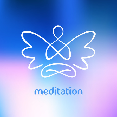 Vector symbol of yoga, meditation, spirituality. Angel. Blurred background and the silhouette of a man with wings.