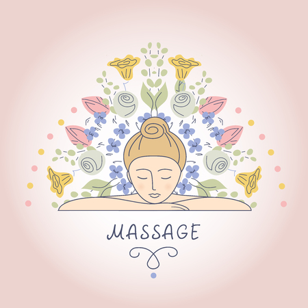 care: Vector illustration.Women and flowers. Massage and Relaxation. Self care. Aromatherapy. The background image for the beauty salon, wellness center.