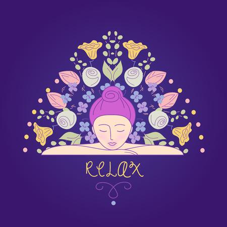 ilustracji wektorowych. Kobieta odpoczynku głowę na dłoniach. Relaks i harmonia. Dbanie o siebie. Aromaterapia. Obraz tła dla salonu piękności, centrum odnowy biologicznej.