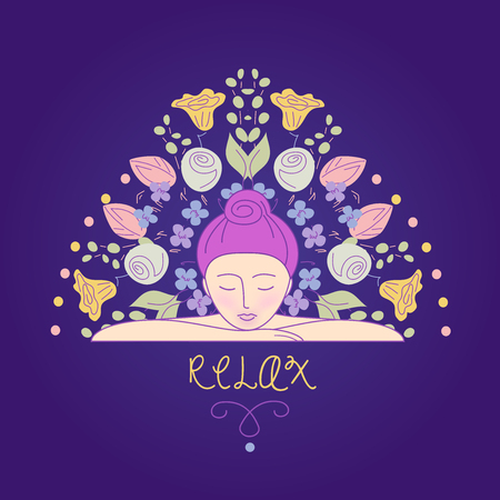 wellness background: Vector illustration. Woman resting her head on his hands. Relaxation and harmony. Self care. Aromatherapy. The background image for the beauty salon, wellness center.