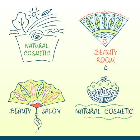 Set vector logos for beauty salon. Handdrawn design elements and logos for beauty shops and cosmetic industry Illustration