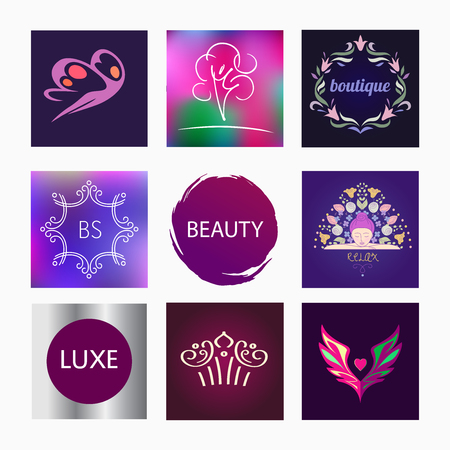 healing touch: Vector element design, se logos for beauty salon, cosmetic boutique. Relaxation. Beauty and health. Icon goods for women on the site, in the publication.