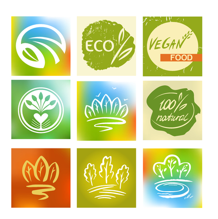 environmentally: Set of logos, avatars for natural, environmentally friendly food, vegetarian food. Taking care of nature. Avatars application.