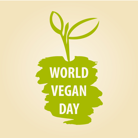 World Vegan Day vector illustration. 1 November. The growth of plants, seedlings. To break through the earth to bloom.