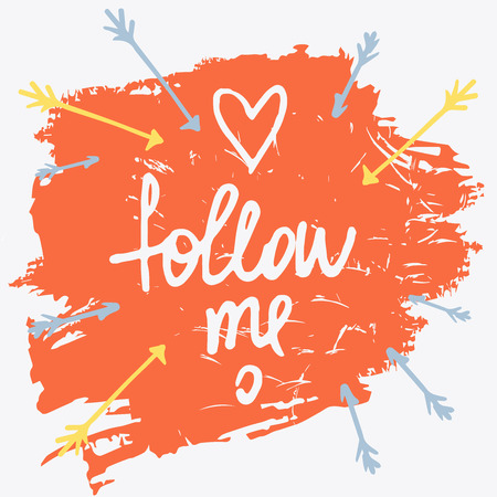 commit: Follow me. Social net. Vector illustration on cyan background