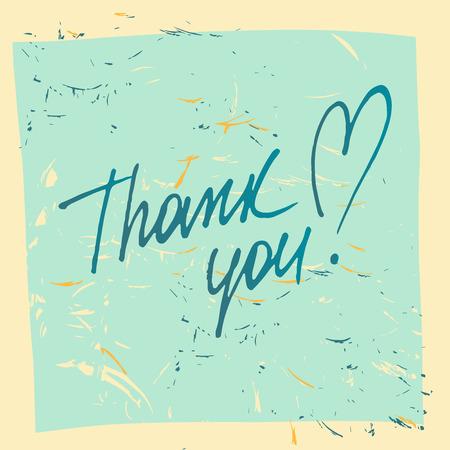 commit: Thank you. Social net. Vector illustration on orange background