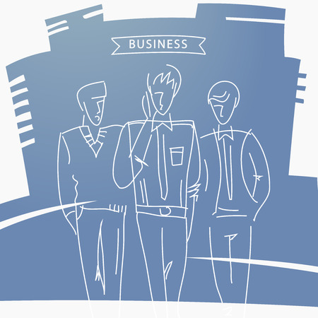 three men: Hand-drawn design elements. Business men. Go three men in full growth. Business partners meeting. Illustration. Office style.Business city. Illustration