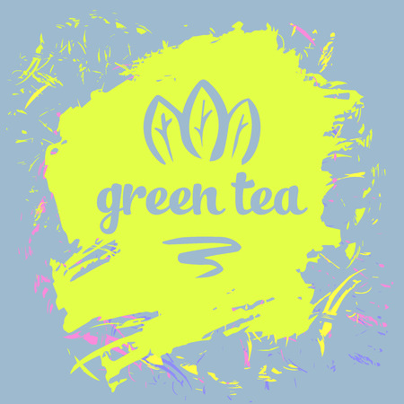 Green tea logo and package. Grange background.