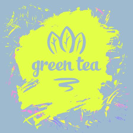 grange: Green tea logo and package. Grange background.