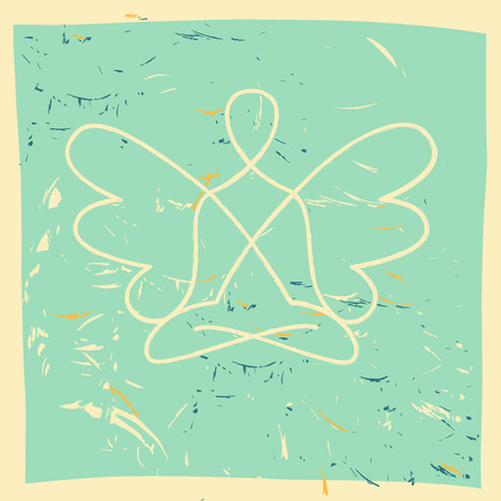 spiritual energy: Vector symbol of yoga, meditation, spirituality. Angel. Grunge background and the silhouette of a man, women  with wings.