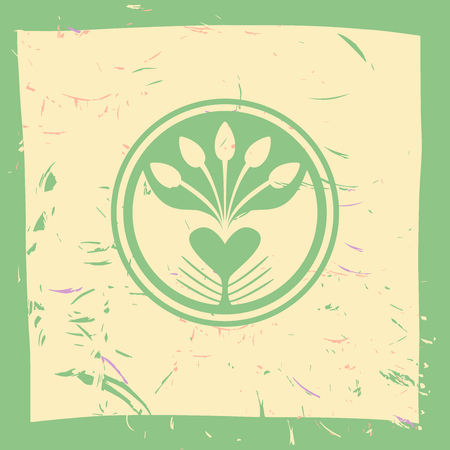Logotype plant and hands. Planted in the ground sprouts, care and care of plants. Farm products. Growing plants and seedlings.  Care and protection of the environment.