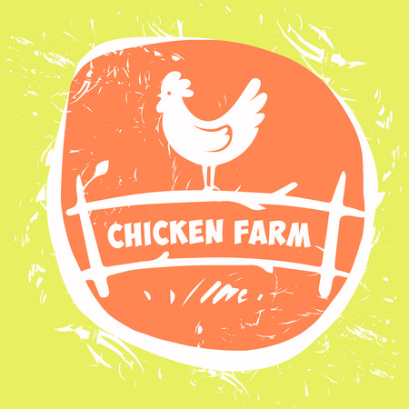 cartoon chicken: Vector logo. Chicken farm. Products from chicken meat and eggs. Poultry Farm