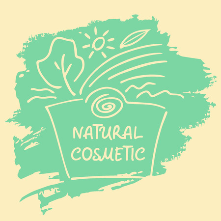 cosmetic products: Logo, label, sticker, tag  for natural cosmetics. Handdrawn  for beauty shops and cosmetic industry Illustration