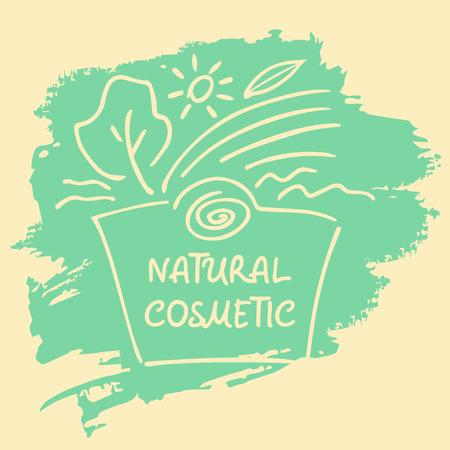 cosmeticos: Logotipo, etiqueta, etiqueta engomada, etiqueta para los cosméticos naturales. Handdrawn para salones de belleza y cosmética