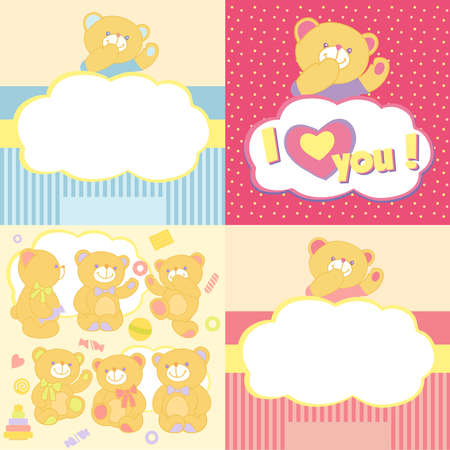 kiss biscuits: Set teddy bears in different poses with toys and sweets. Background with bears. Baby card. Playing bears brown. Vector illustration. Illustration