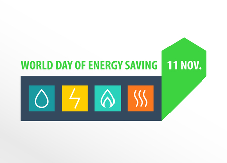World day of energy saving. 11 november. Energy efficiency. Diagram of growth of energy efficiency, saving resources.