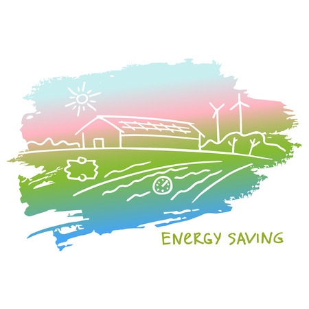 heat pump: Vector illustration energy-efficient construction.Energy saving. Eco-friendly house. Natural resources and energy icons. Smart home