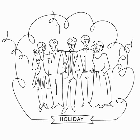 fullbody: Sketch of a corporate party. Hand-drawn, black and white sketch. Business people. Vector illustration. Illustration