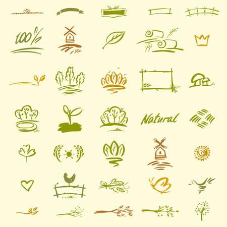 Set of natural elements for design. Sketches of rural motifs, the elements of farming. Hand-drawn icon for for packaging products, cosmetics.