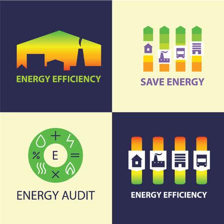 Energy efficiency. Diagram of growth of energy efficiency, saving resources.