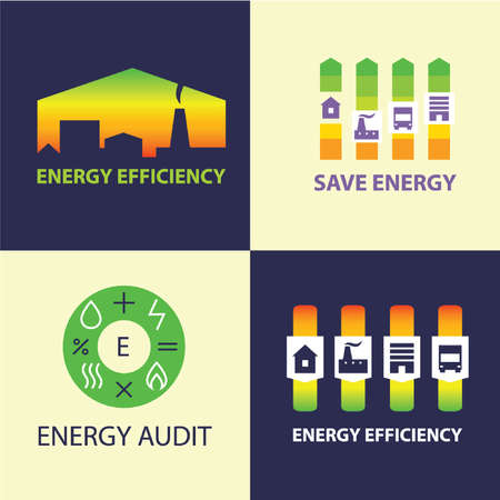 Energy efficiency. Diagram of growth of energy efficiency, saving resources.