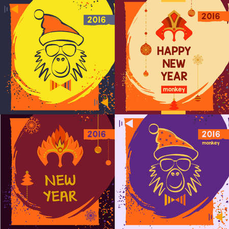 pageant: Set colorful mask christmas monkey. Hand drawn mask for happy new year. Chinese zodiac 2016. Child party.