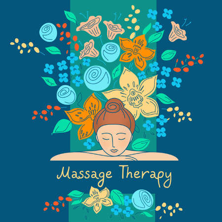 spa therapy: element design, set for beauty salon, cosmetic boutique. Massage therapy. Beauty and health. Background image for a spa, salon. Illustration