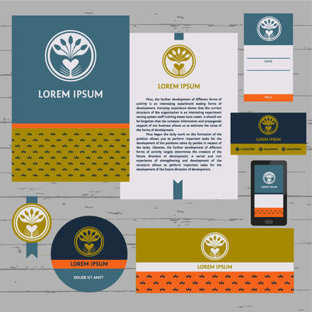 Corporate identity template set. Business stationery and design elements. Branding design. Letter envelope, card, catalog, tablet pc, mobile phone, invitation, price tag. Illustration